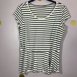 The Limited Ivory and Black Striped Peplum Shirt